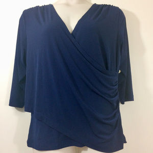 Coldwater Creek Navy Faux-Wrap Knit Top NWT